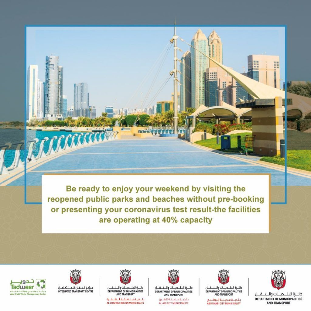 Abu Dhabi riapertura spiagge parchi pubblici